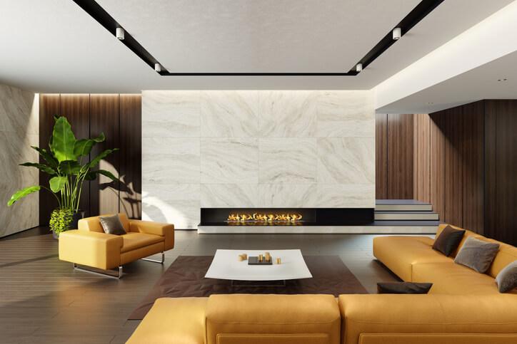 Obývací pokoj s koženou sedačkou